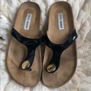 Steve Madden black sandals with gold button